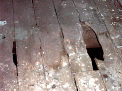 Rotten floor outside the clockroom, summer 2005